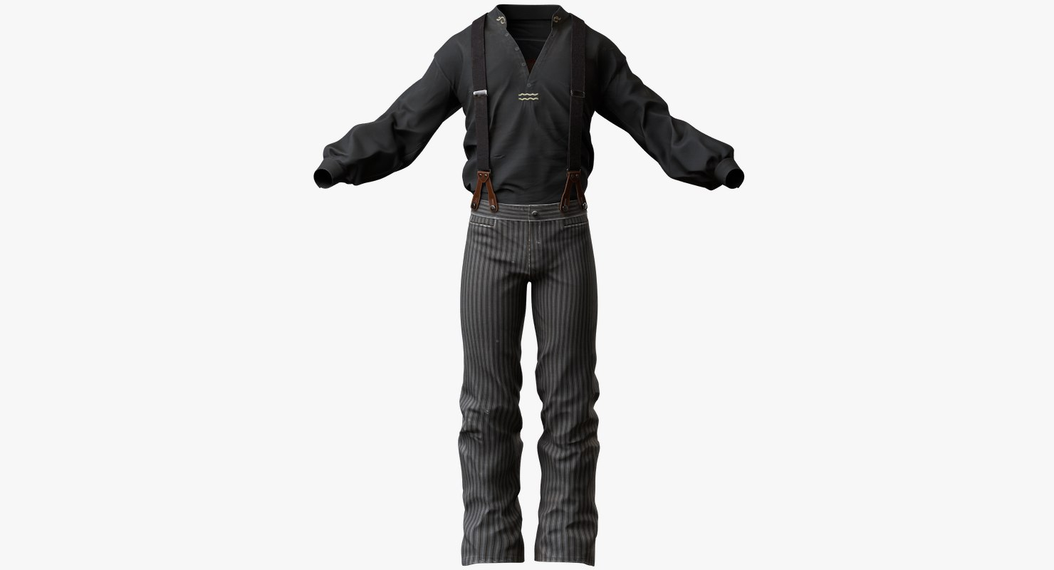 3dsmax mens western clothes pants