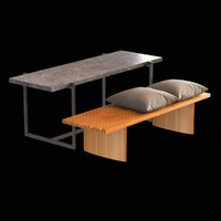3d table bench wood cushions