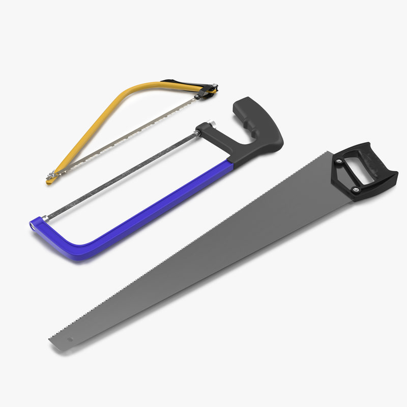 3d max saws modeled hand hacksaw