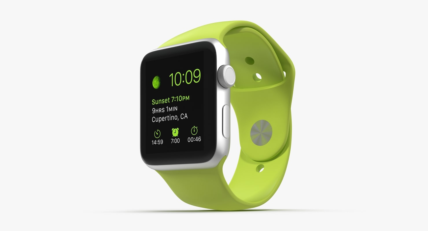 apple watch sport green 3d model