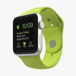 apple watch sport green 3d model