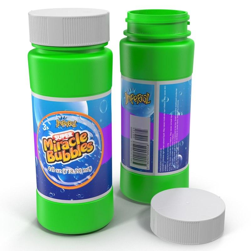 bubbles bottle modeled 3d max