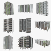 set apartment buildings interiors 3d obj