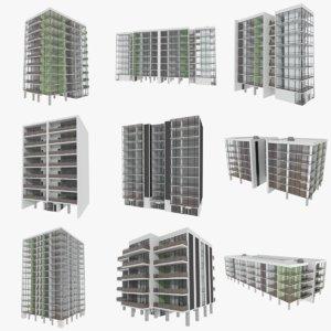 set apartment buildings interiors 3d obj