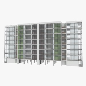 apartment building interior exterior 3d obj