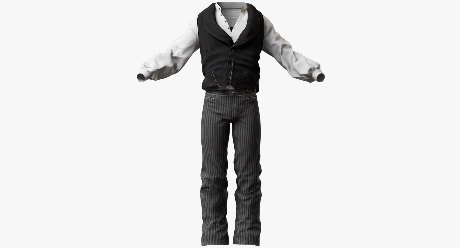 mens western clothes 3d model