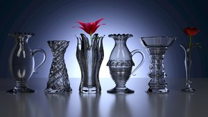3d blend set vases flowers