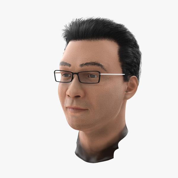 asian male head 3d model
