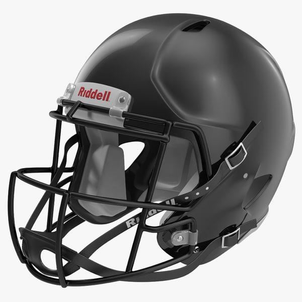football helmet riddell black 3d 3ds