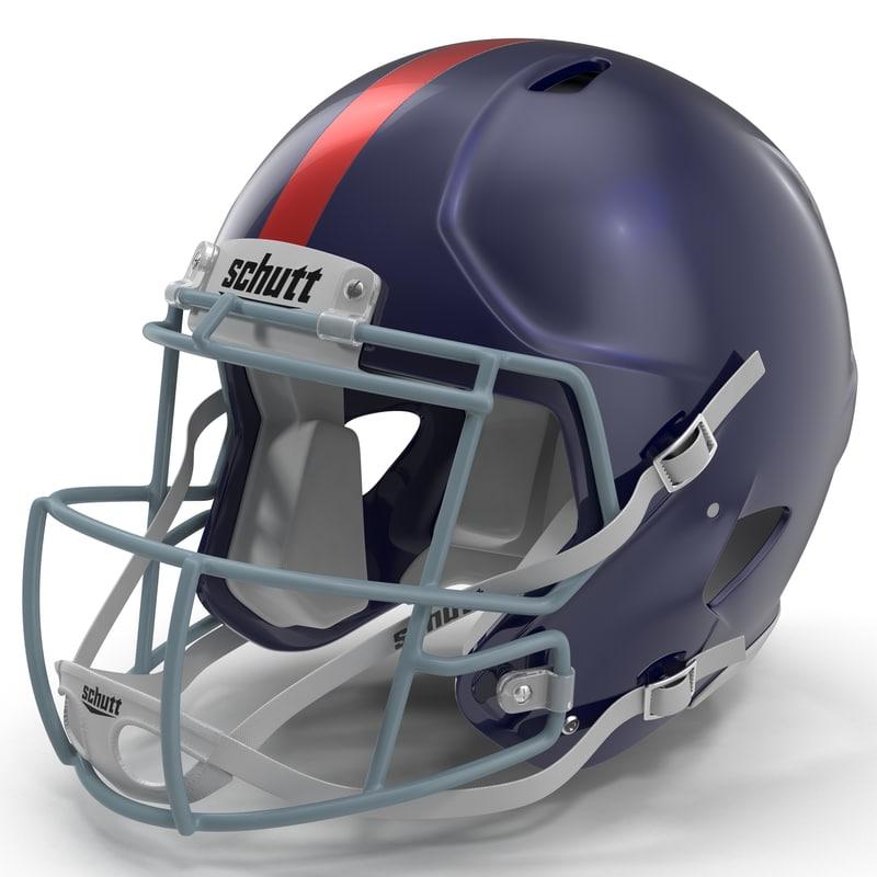 football helmet schutt blue 3d model