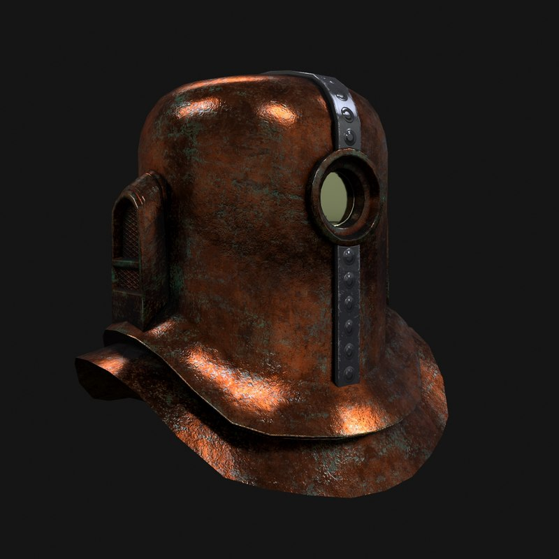 low-poly steampunk helmet 3d max