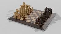 3d chess set wooden model