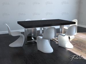 3dsmax table chairs
