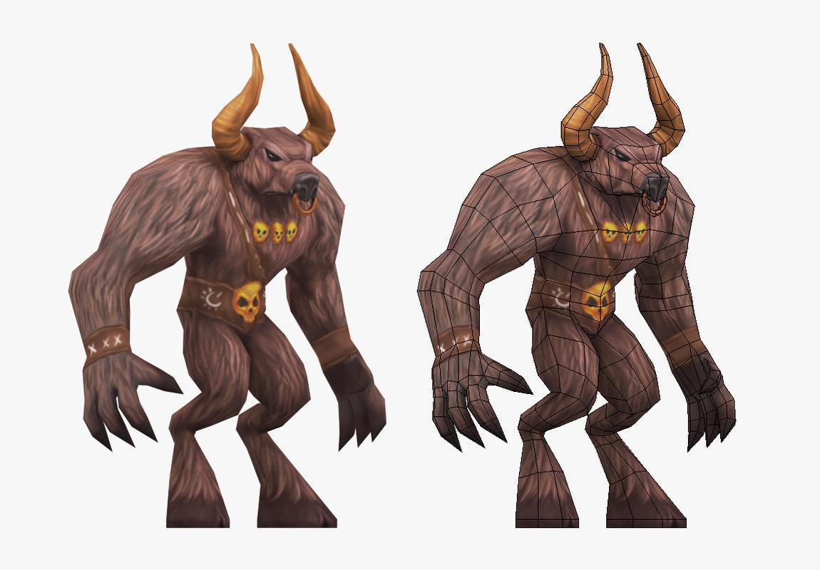 minotaur animations character 3d model