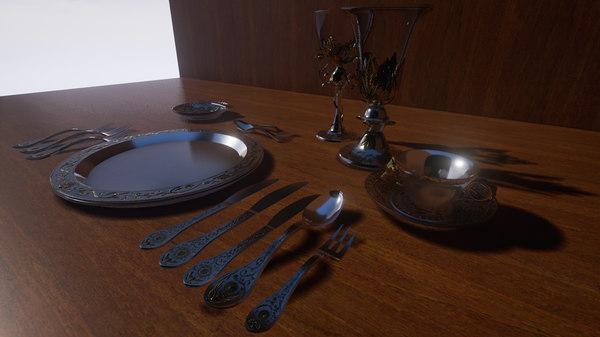 3d silverware set renaissance unreal
