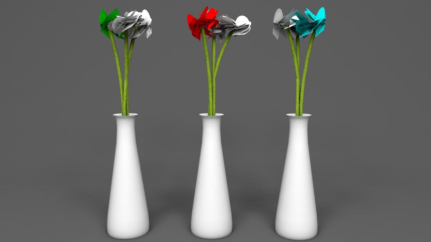 3d simple vase flowers model