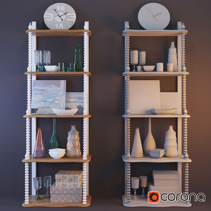 3d bookcase stand clock