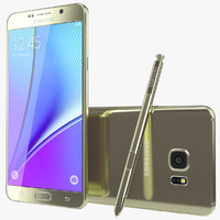 3d model realistic galaxy note5 gold