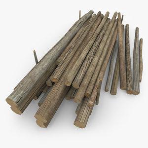 wooden log pile 3d max