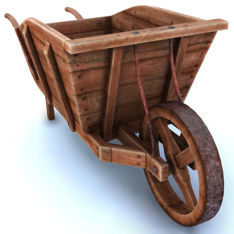 obj wood wheelbarrow