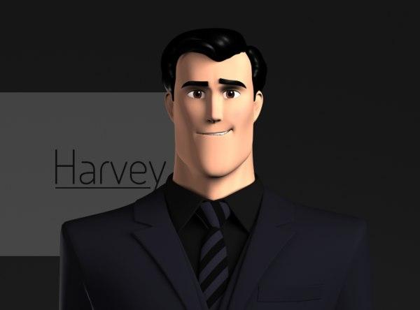 3d model harvey stylized male character