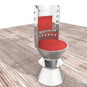 modern metallic chair red 3d model