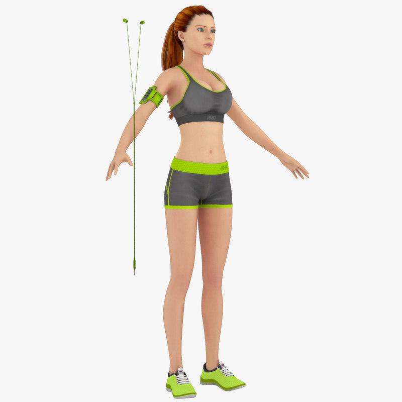3d model fitness workout girl