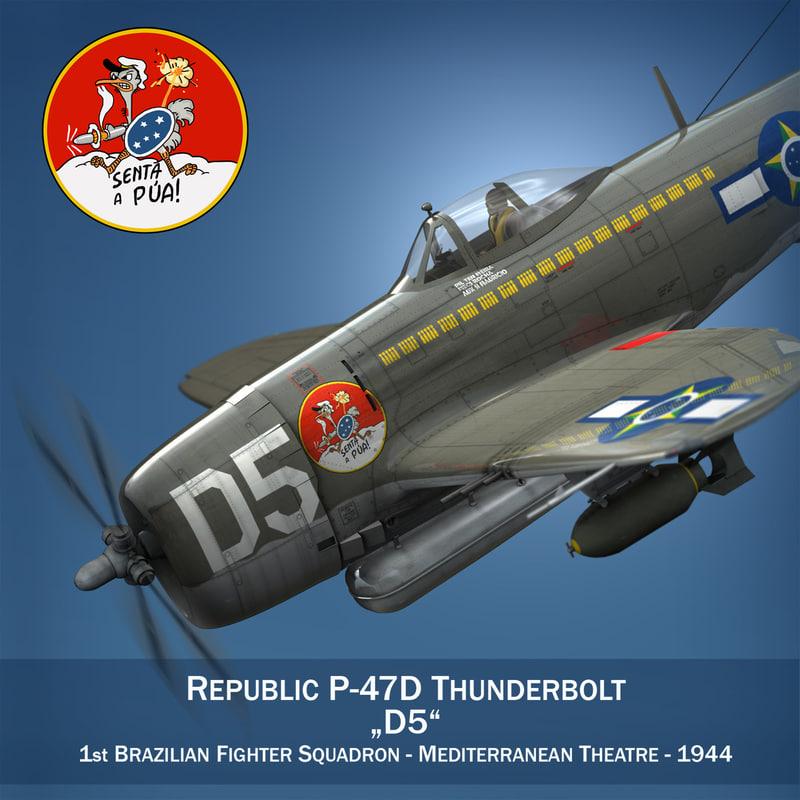 3d model republic p-47 thunderbolt -