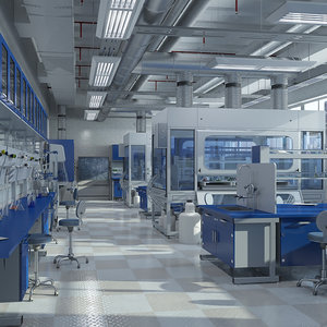 3d scene laboratory equipment hd model