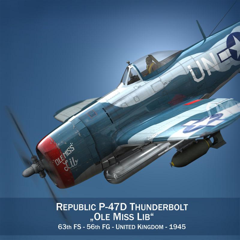 republic p-47 thunderbolt - 3d model