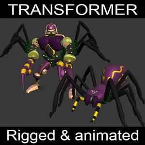 tarantulas transformation 3d max