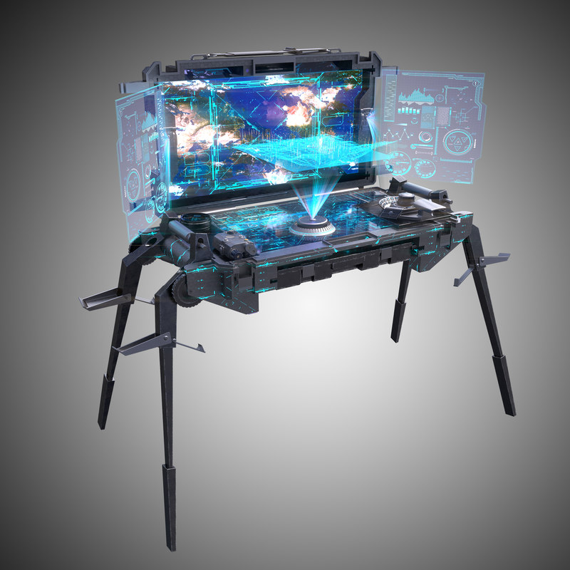 3d futuristic command center model