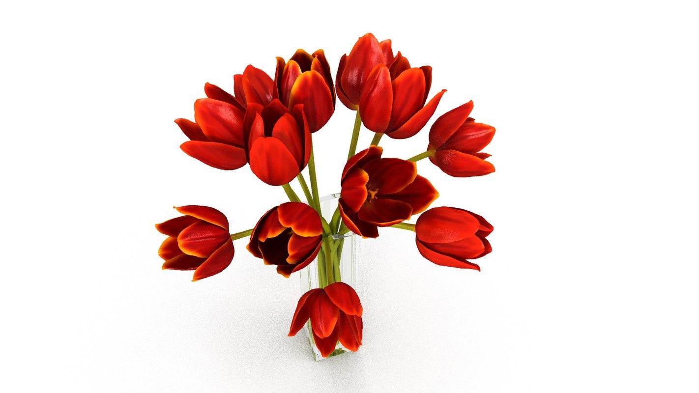 3d tulip glass vase model