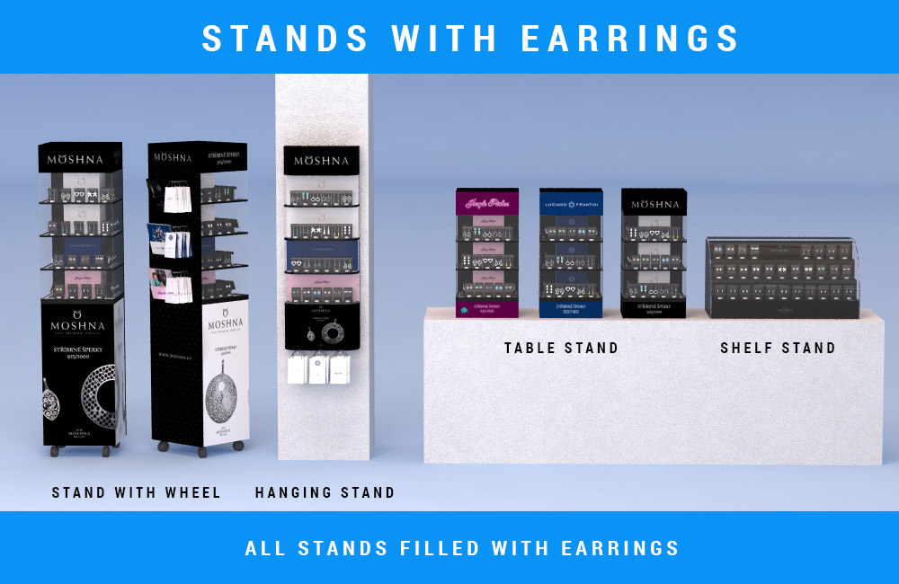 stands earrings 3d max