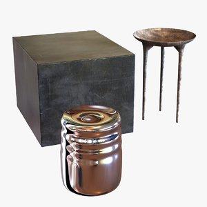3d model of metal tables