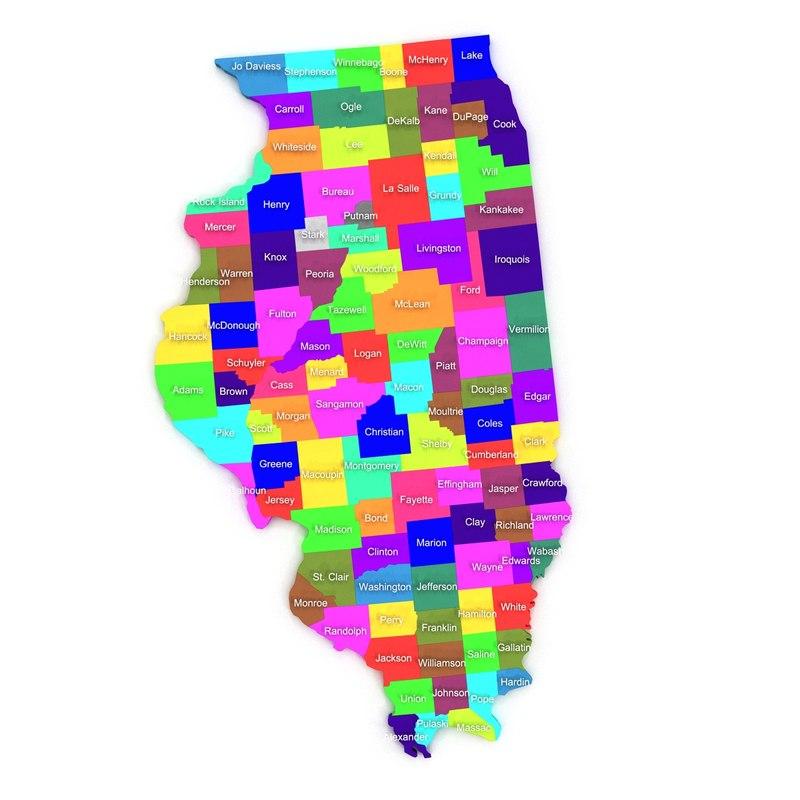 illinois counties 3d model