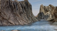 landscape water mountains 3d model