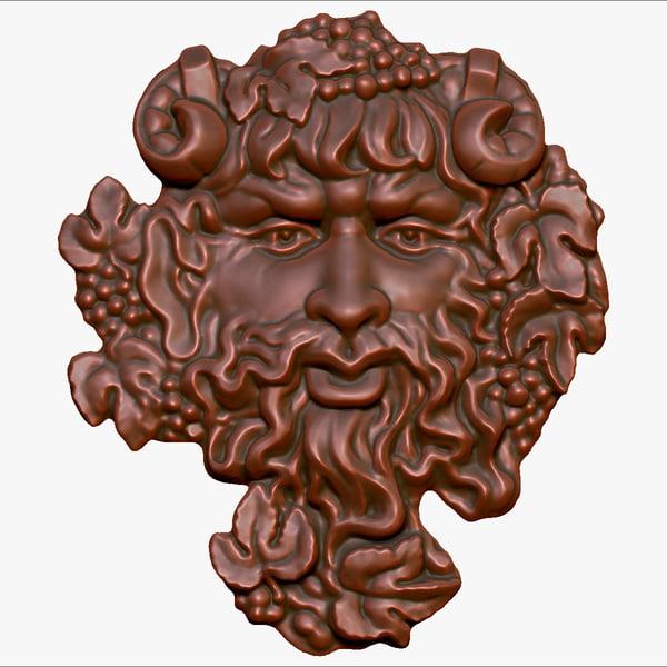 bas-relief god wine bacchus 3d max