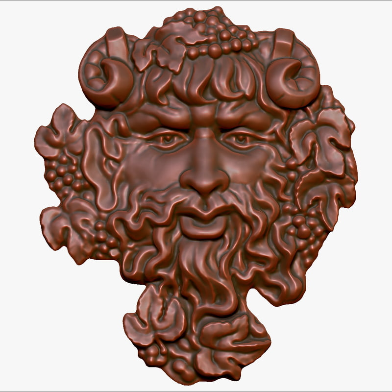 bas-relief god wine bacchus 3d max