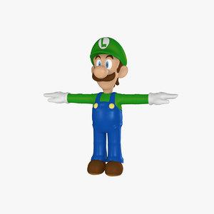 3d model luigi rigged cartoon character