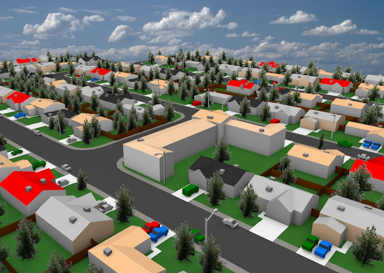 neighborhood houses 3d c4d