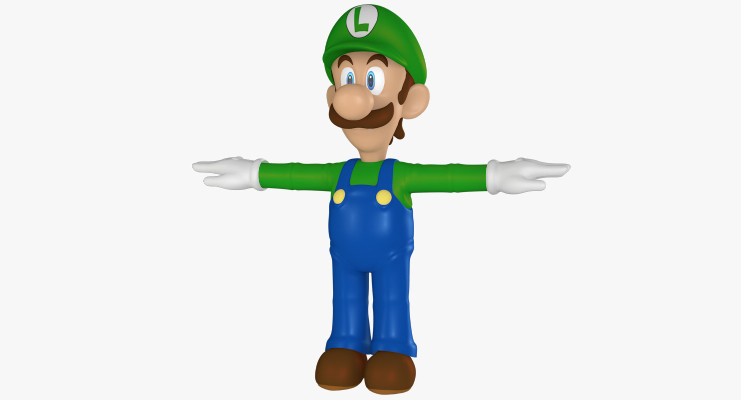 3d model luigi rigged cartoon character