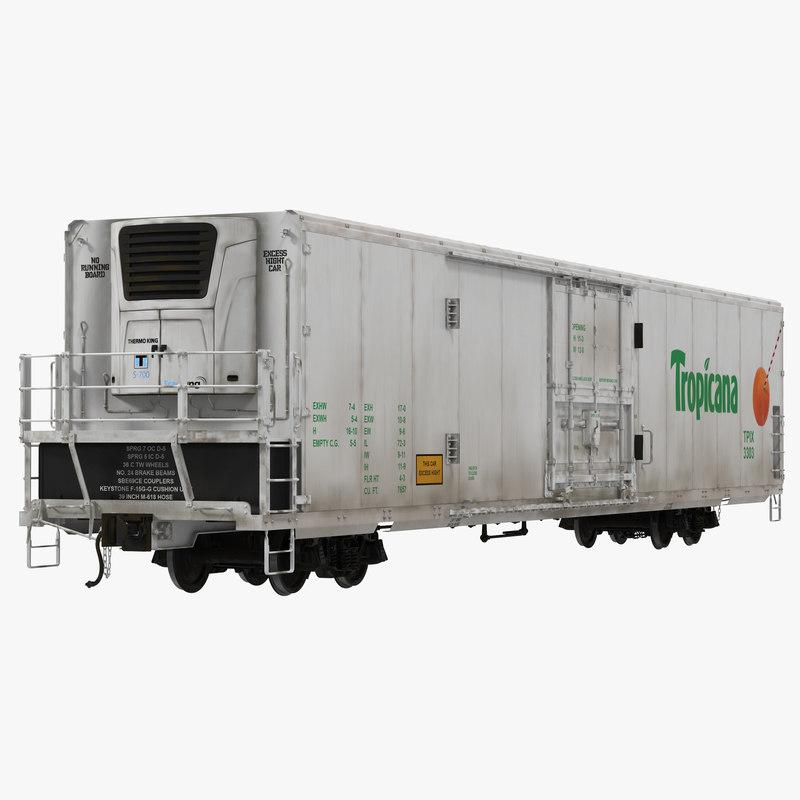 c4d railroad refrigerator car white