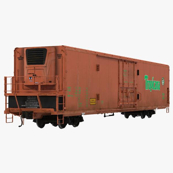 3d railroad refrigerator car modeled