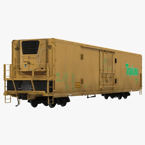 railroad refrigerator car yellow 3d max