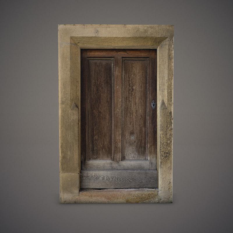 3d 3ds old wooden door