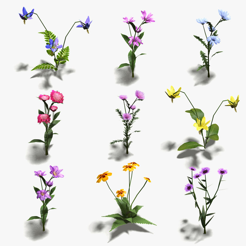 3ds max flowers 16 low-poly icons