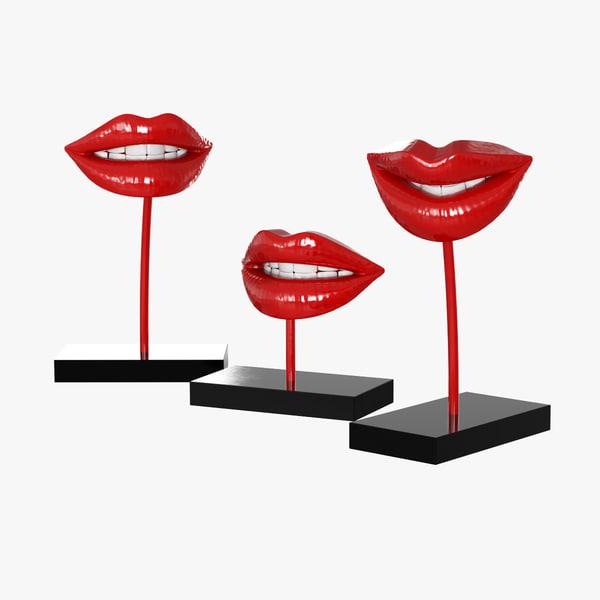 3d model figurine lips