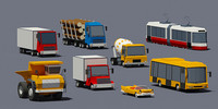 Set of lowpoly vehicles
