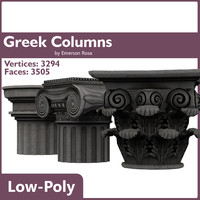 3d low-poly greek doric
